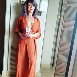 Gorgeous low cut orange maxi